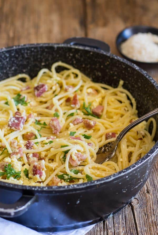 Carbonara pancetta and egg Pasta, a fast, easy and delicious authentic Italian Pasta recipe. A creamy (no cream)bacon and egg Spaghetti dish.