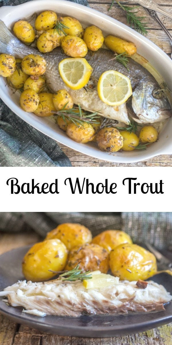 Baked whole Trout, Sea Bass or Sea Bream, a delicious way to bake your fish, the Italian way. Stuffed with fresh herbs, garlic and olive oil. #fish #bakedfish #wholefish #trout #seabass #seabream