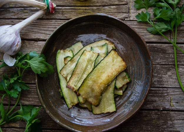 Italian marinated zucchini in a bowl
