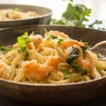 pasta and shrimp on a plate