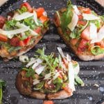 bruschetta with pesto on a black pan grill