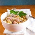 creamy pasta with mushrooms and ham