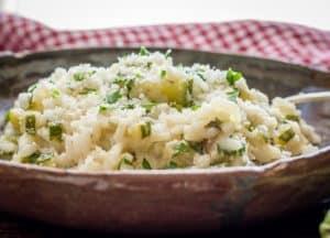 a bowl of creamy Italian zucchini risotto