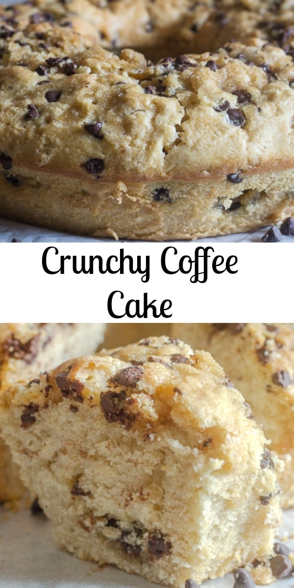 The perfect cake to go along with a cup of coffee or tea, a deliciously moist Crunchy Coffee Cake, a buttery brown sugar and chocolate chip crumb used as a filling and topping! The perfect coffee cake. #coffeecake #cake #chocolatecake #dessert #breakfast #bundtcake