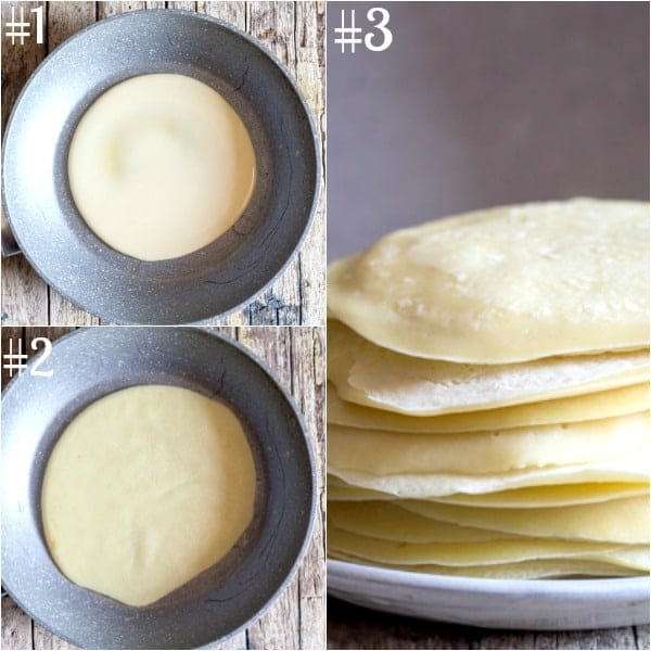 crepe cannelloni how to make batter in the frying pan and stacked
