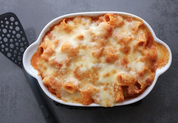 Baked Pasta, an easy baked pasta recipe, homemade with sauce and ground beef, a cheesy family dinner casserole. So good!|anitalianinmykitchen.com