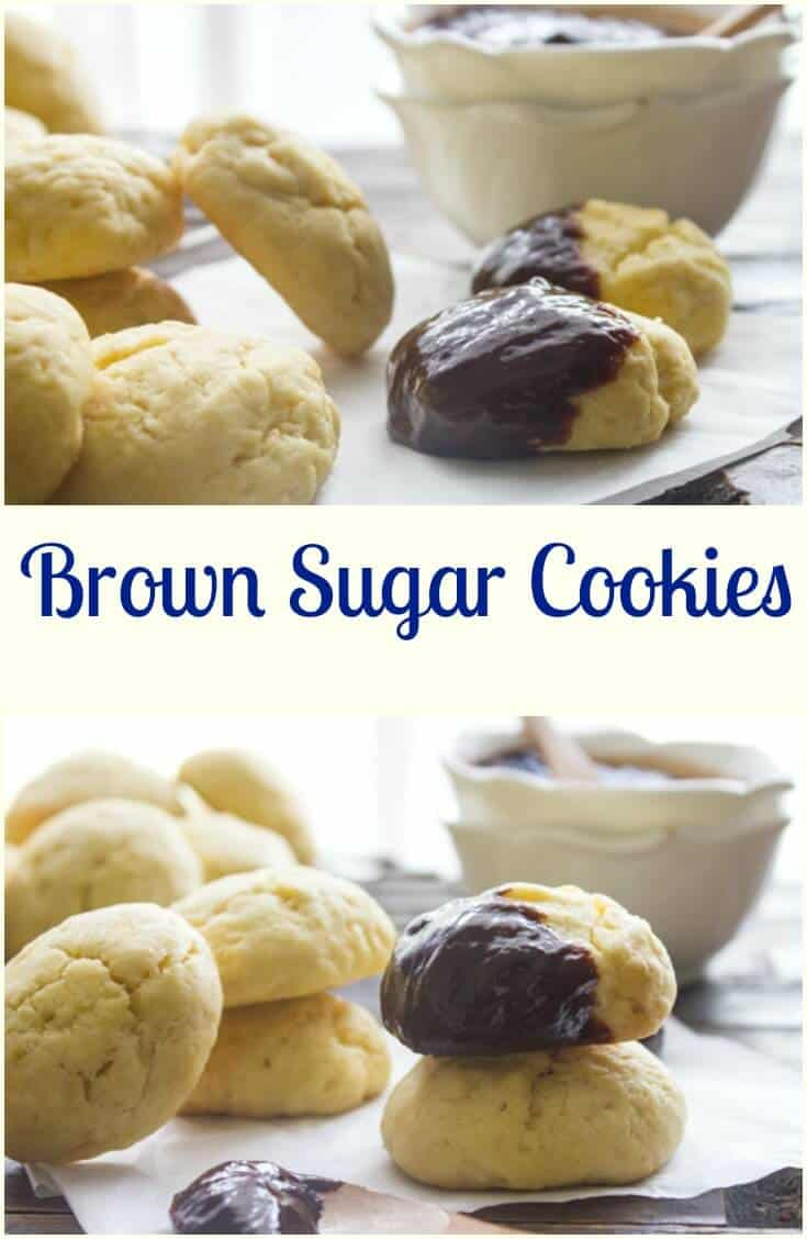 Brown Sugar Cookies, an easy, delicious thick soft brown sugar cookie recipe. Perfect plain or drizzled with chocolate. A yummy sweet treat.