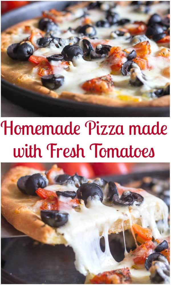 There's nothing like Homemade Pizza, especially when it is made with fresh tomatoes.  A delicious pizza made with homemade pizza dough or even store bought dough.  Top it with shredded mozzarella and some sliced black olives. #pizza #homemadepizza #Italianfood #dinner #recipe