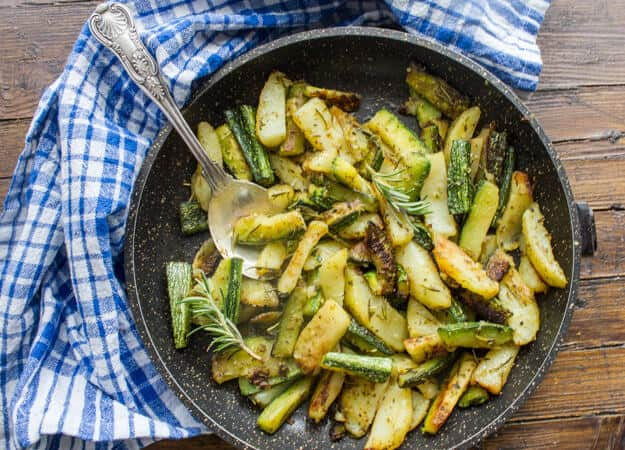 Roasted Potatoes Zucchini, Italian style, roasted in the oven with rosemary, garlic, oregano & olive oil, easy, simple and delicious.