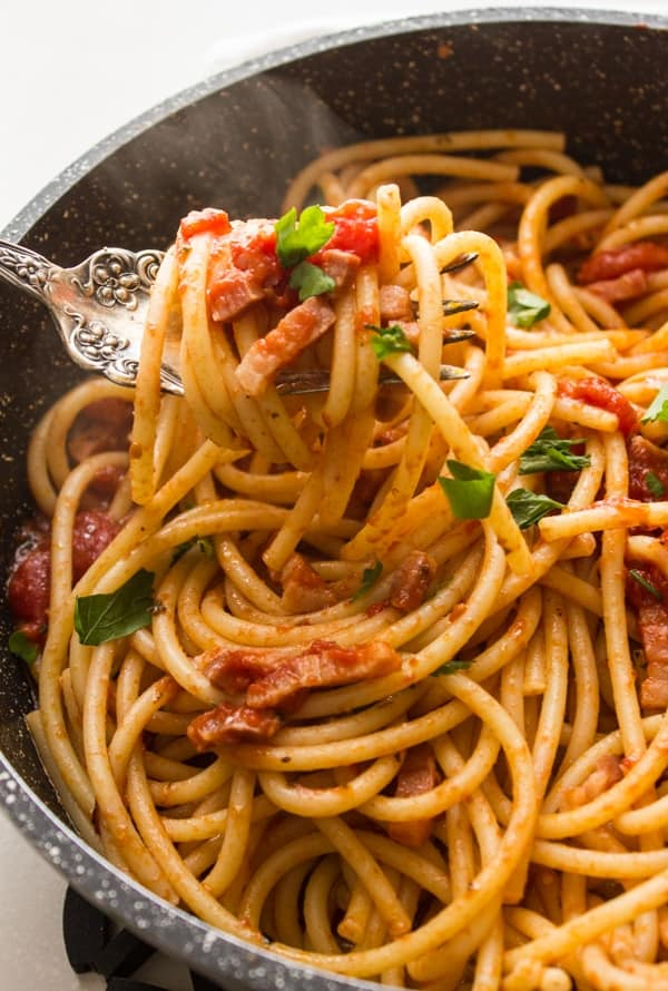 Pasta allAmatriciana, not only one of the most delicious Italian Pasta recipes but also one of the eastiest, pancetta/bacon, spices and tomatoes Perfect.|anitalianinmykitchen.com
