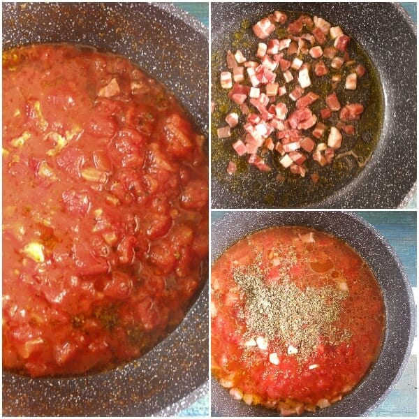 Pasta AllAmatriciana, a delicious, fast and easy Italian Pasta recipe, pancetta/bacon, spices and tomatoes. Perfect anytime meal.