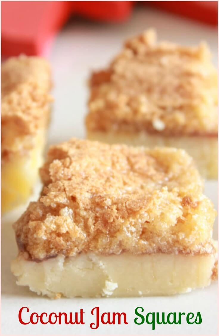 Coconut jam squares, delicious Christmas shortbread crust, jam filling and a coconut, brown sugar meringue baked topping. Melt in your mouth yumminess!