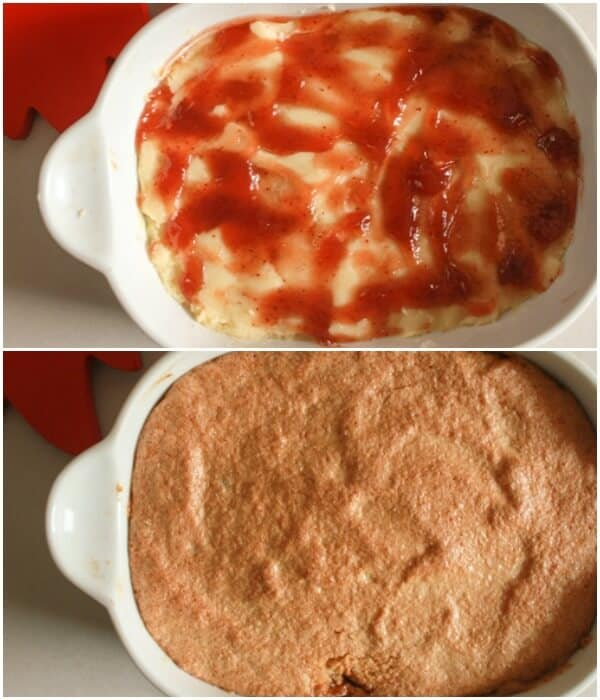 how to make the squares first layer and jam spread on top then bars before baking in a white pan
