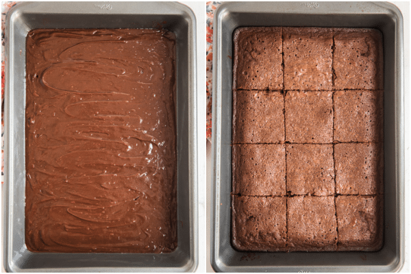 the batter in the pan before and after baking