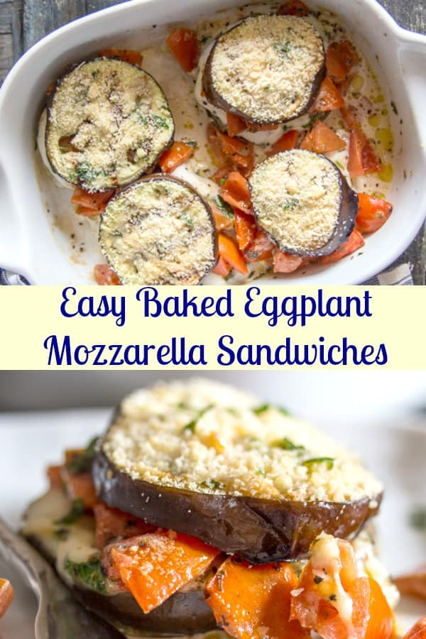 Eggplant Mozzarella Sandwich an easy healthy baked grilled Eggplant recipe idea. Grilled Eggplant stuffed with a tasty chopped tomato mixture and a slice of fresh mozzarella baked until melted. So good. #eggplant #sandwich #vegetables #healthy #nocarb #glutenfree #vegetarian