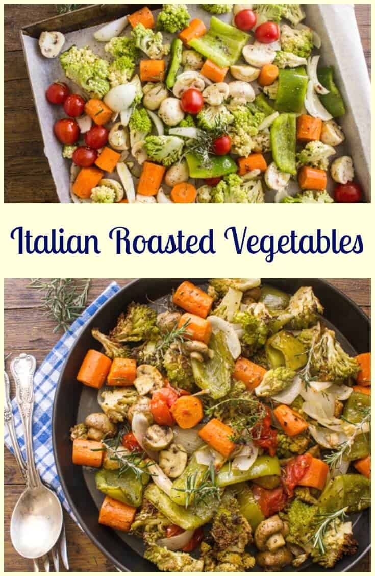 Italian Roasted Vegetables, deliciously spiced with Italian herbs and olive oil, oven baked to perfection. A yummy family veggie dinner dish.
