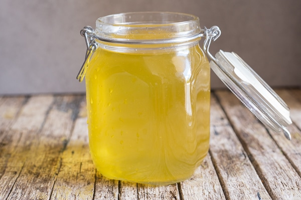 limoncello drained and mixed with sugar syrup