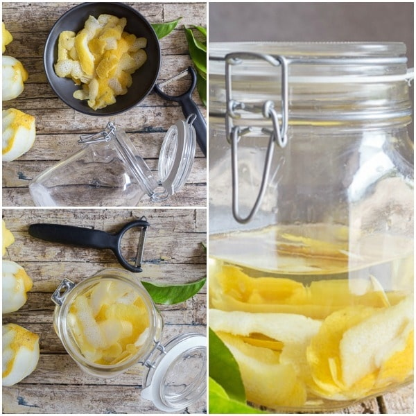limoncello how to make, lemon skin in a bowl, in a jar with vodka