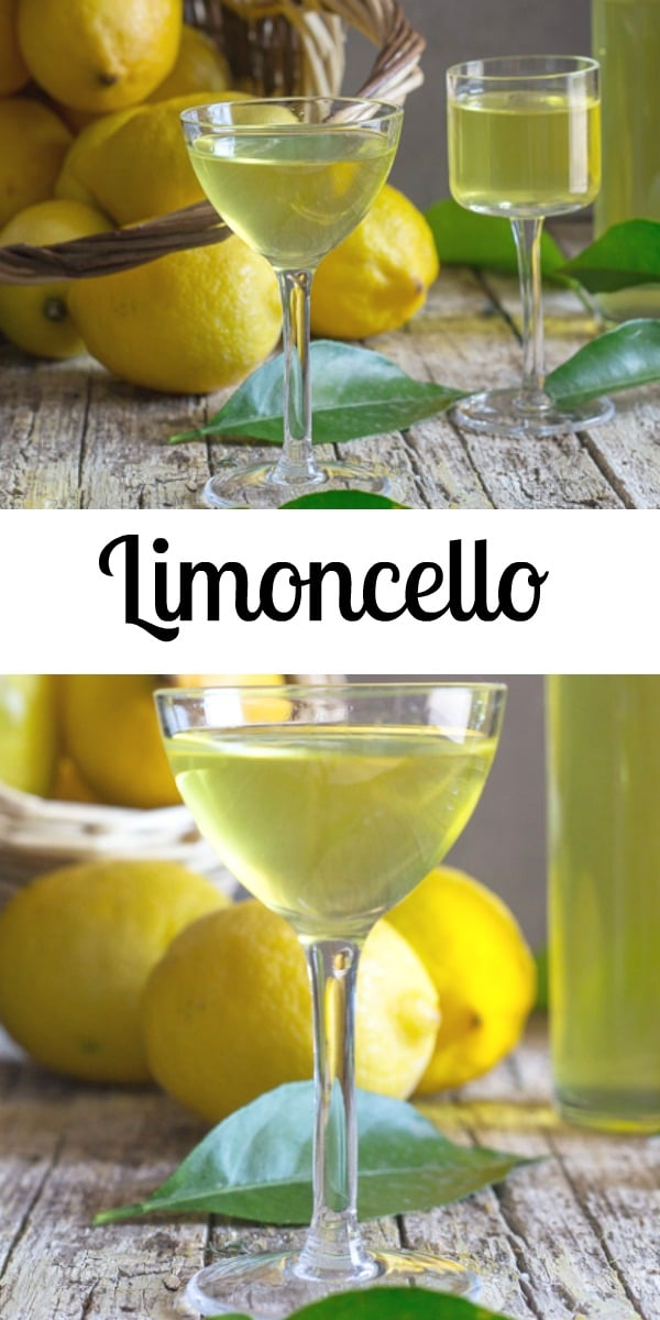 Limoncello, a delicious Italian liqueur, on the rocks or straight up. The perfect summertime on the patio or after dinner liqueur. #liqueur #limoncello #lemon #Italianrecipe #drink #summerdrink