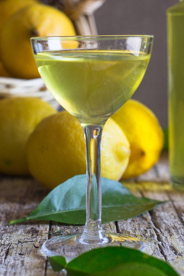 limoncello up close in a glass
