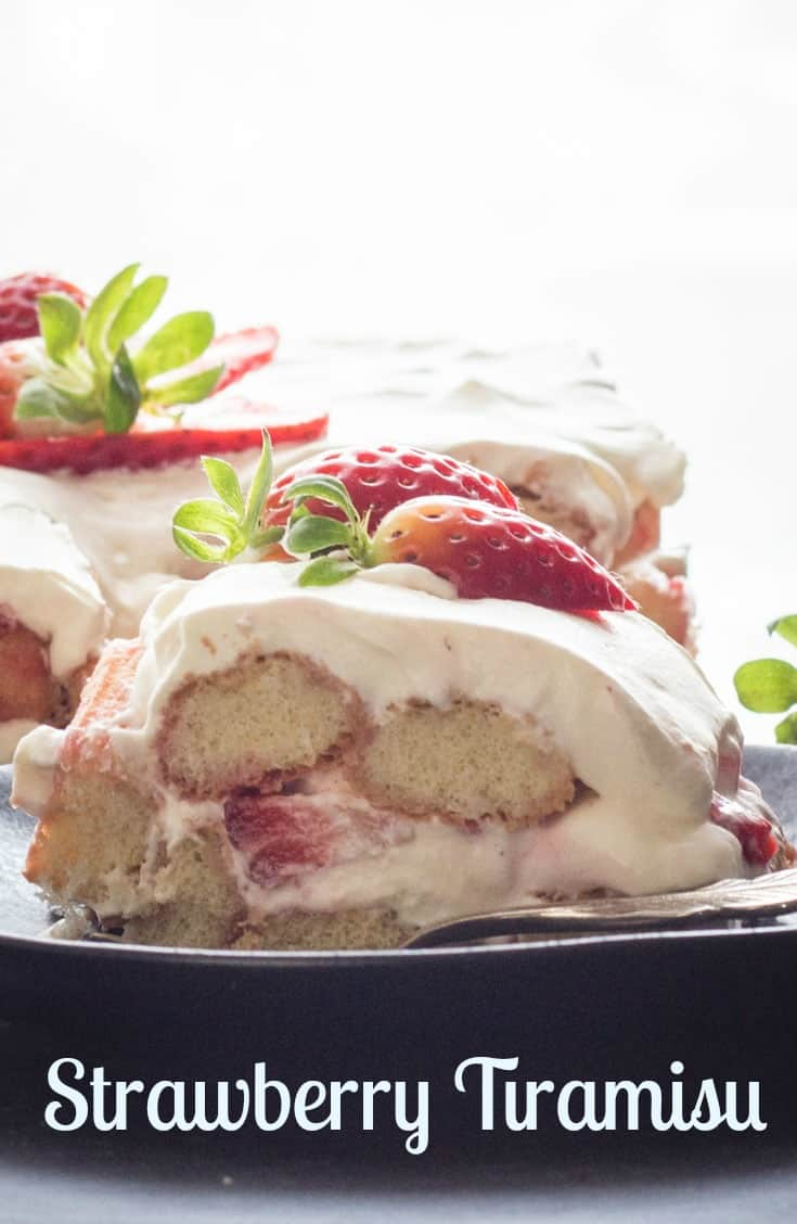 Strawberry Tiramisu,the perfect summer dessert, made with fresh strawberries, creamy mascarpone, and ladyfingers.  No bake and delicious. #tiramisu #strawberry #strawberries #strawberrytiramisu #Italiandessert #dessert #summerrecipe #summerdessertrecipe