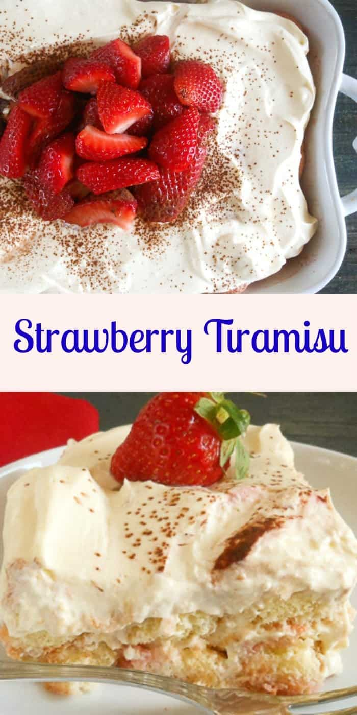 Strawberry Tiramisu,the perfect spring/summer dessert, made with fresh strawberries, creamy mascarpone, and ladyfingers. No bake and delicious.|anitalianinmykitchen.com