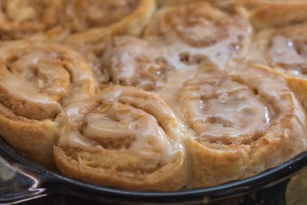 cinnamon rolls up close