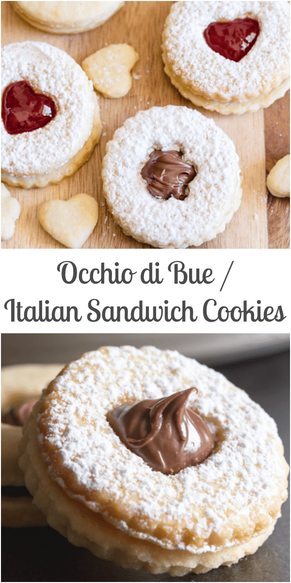 Italian Sandwich Cookies a thin buttery cookie filled with your favorite filling, from a creamy Hazelnut filling to a little Jam or chocolate frosting. You won't be able to stop at one! #cookies #Italiancookies #sandwichcookies #jamcookies #snack #occhiodibue