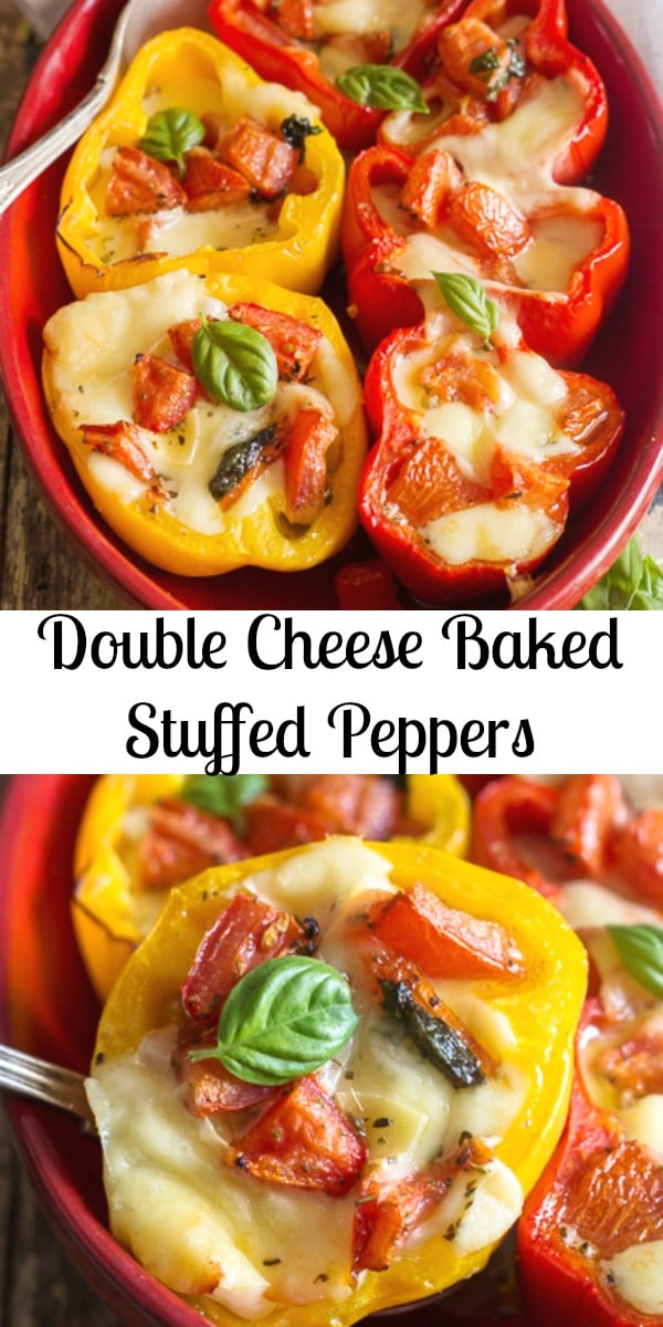 Easy Baked Stuffed Peppers, filled with an Italian herb bread crumb mixture and delicious melted cheese. The perfect main dish or appetizer! #peppers #sidedish #maindish #stuffedpeppers #bakedpeppers #cheesestuffedpeppers #vegetarian