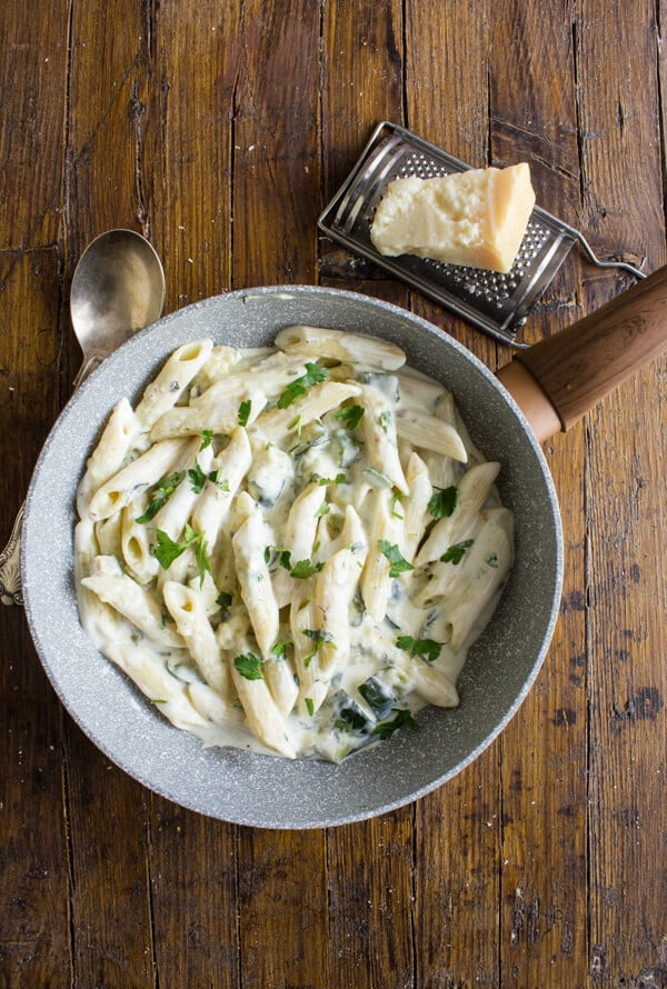 Zucchini Cream Cheese Pasta,  an easy, creamy and delicious pasta recipe, made with light cream cheese.A Healthy, fast vegetarian pasta dish.