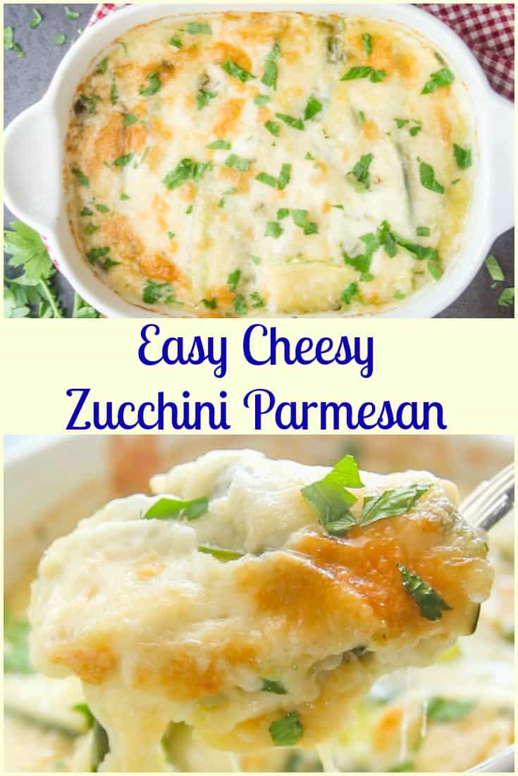 Easy Cheesy Zucchini Parmigiano, a delicious healthy side dish or the perfect main dish recipe. A new summertime favourite vegetarian recipe.