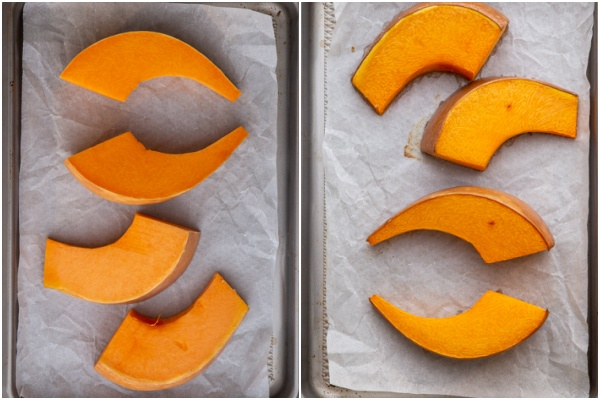 Pumpkin roasted before and after on a cookie sheet.