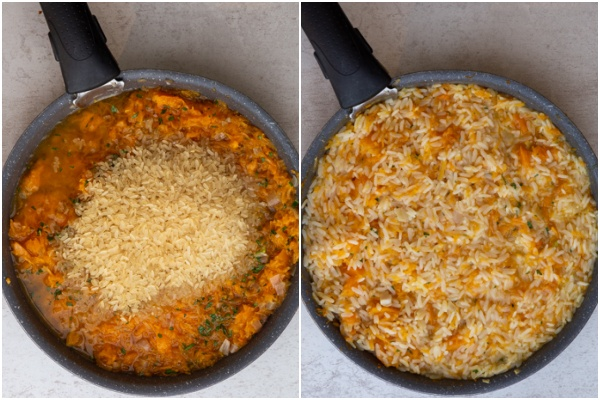 The rice added to the pan and the broth to the pan.