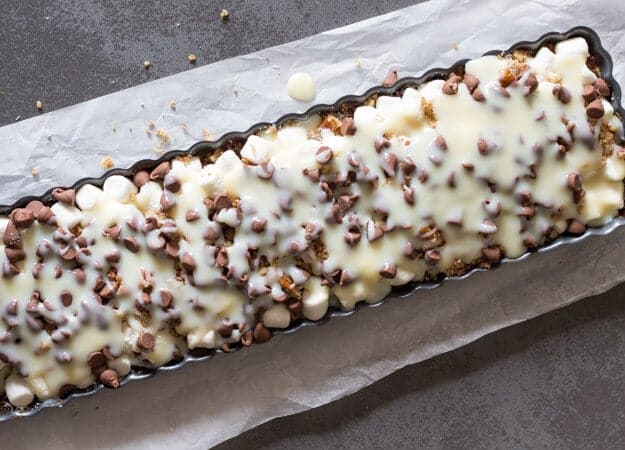 Ultimate Rocky Road Nut Bars, a chocolate lovers easy Cookie Bar Recipe. A deliciously nutty, chocolatey sweet treat. A Christmas Dessert.