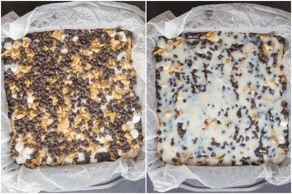 adding the mini chocolate chips and sweetened condensed milk on top