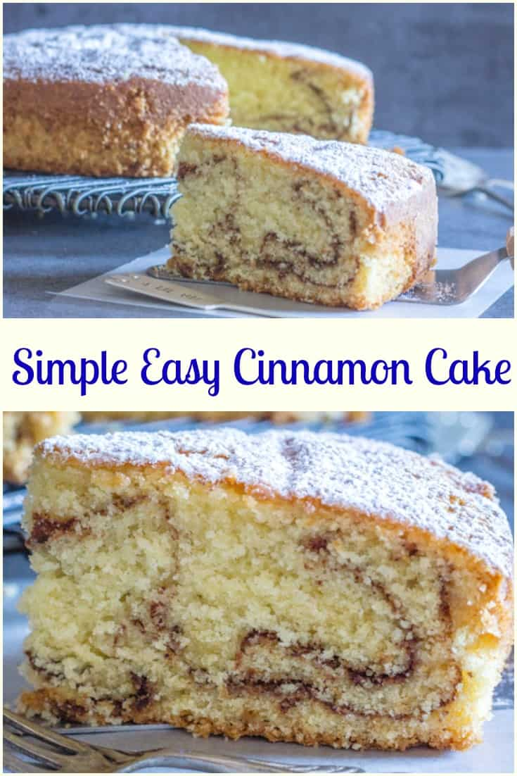 Simple Easy Cinnamon Cake, a soft, delicious and moist Cake Recipe.  Perfect for snack, dessert or even Breakfast.  Everyone will love it. #cinnamon #cake #dessert #snack