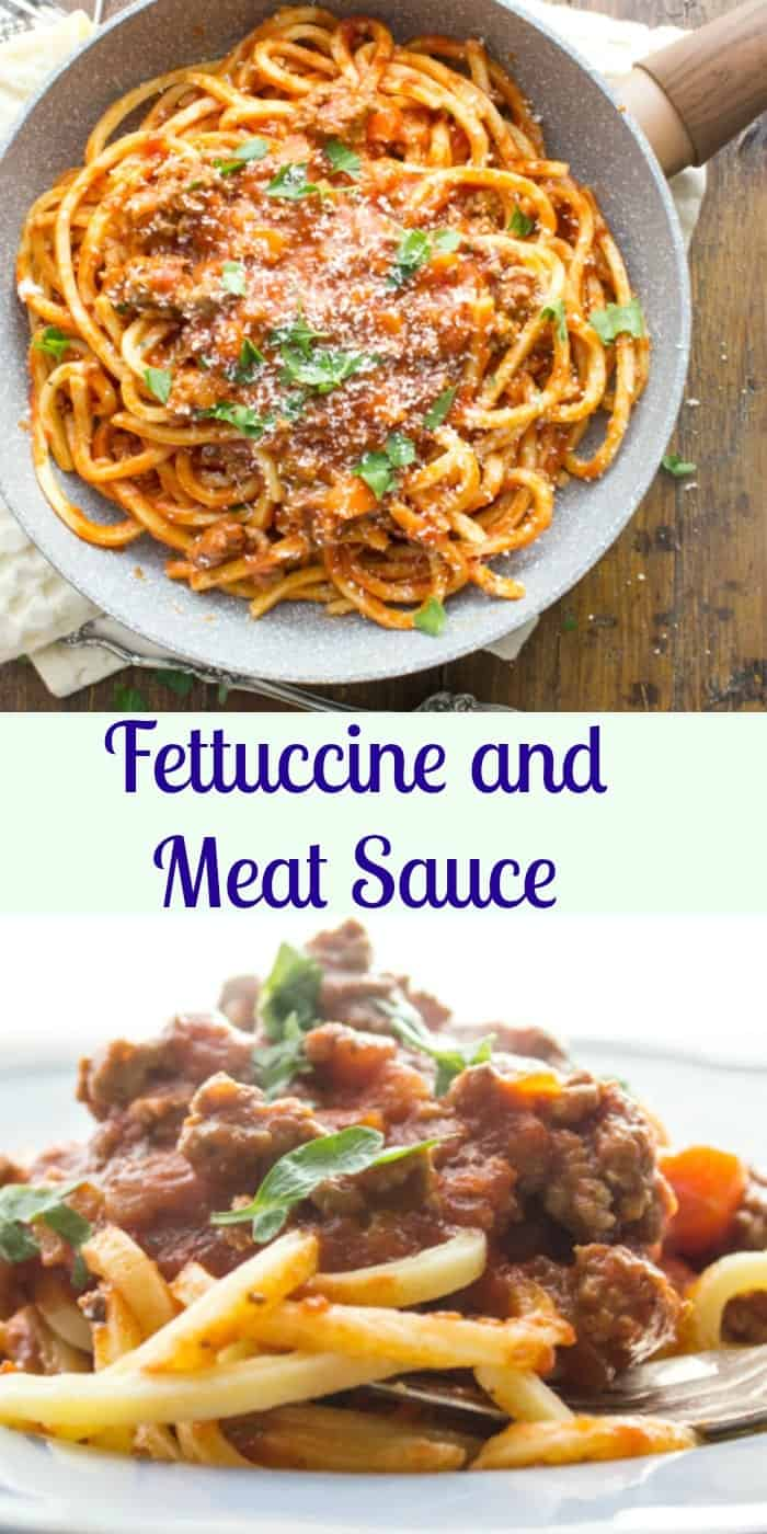 Fettuccine and meat sauce one of the most delicious Italian recipes. An easy, healthy tomato sauce, the perfect addition to any pasta. anitalianinmykitchen.com