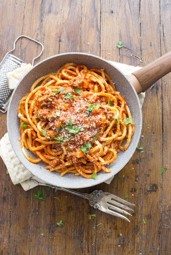 Fettuccine and Meat Sauce
