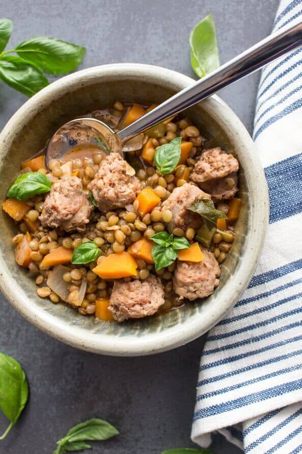Easy Lentils and Sausage Soup