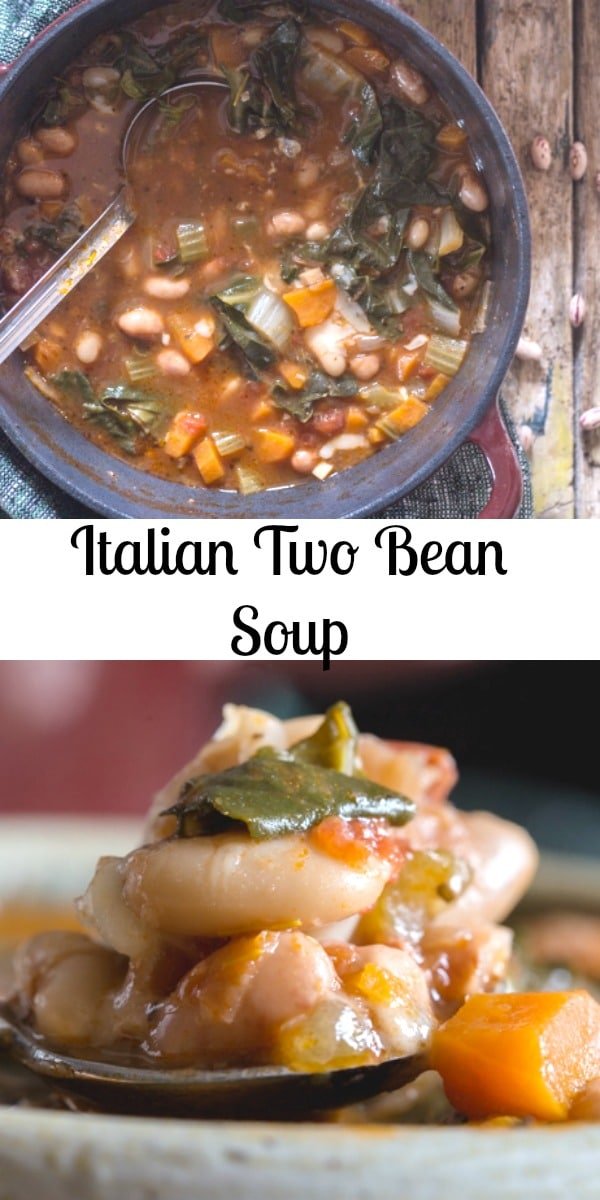 This Italian Bean Soup is made with two types of Italian Beans, Cannellini and Borlotti.  The perfect comfort food soup. #soup #beansoup #Italiansoup #dinner #comfortfood