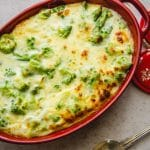 broccoli bake in a red baking pan