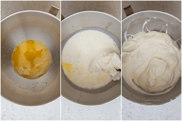 beating egg & sugar, adding cream and mascarpone and beating until thick in a silver mixing bowl