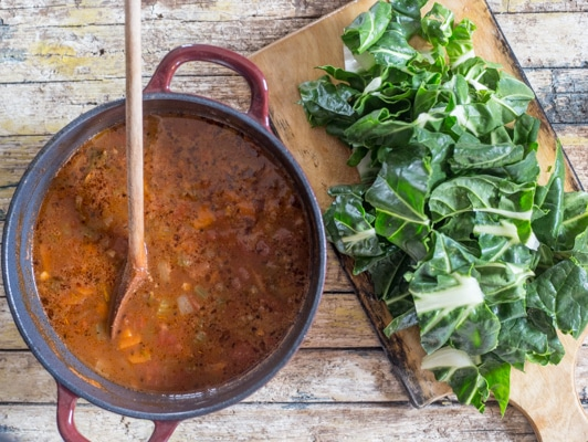 bean soup and chopped swiss chard