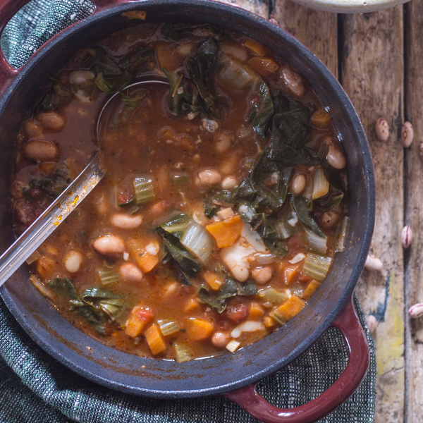 bean soup in a black pot