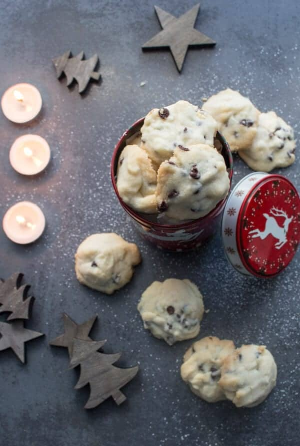 Christmas Time Melt in Your Mouth Easy Chocolate Chip Whipped Shortbread, the best Shortbread Holiday Cookie Recipe.