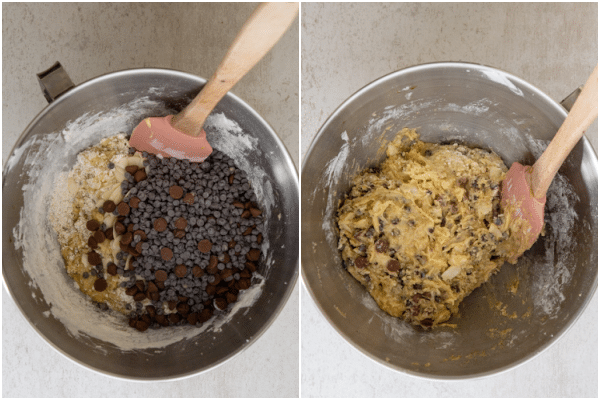 adding the chocolate chips and making a dough
