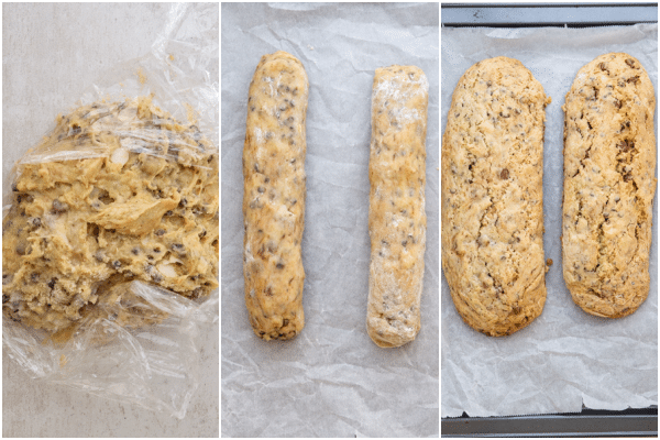 forming a dough, forming 2 logs and baked logs on cookie sheet
