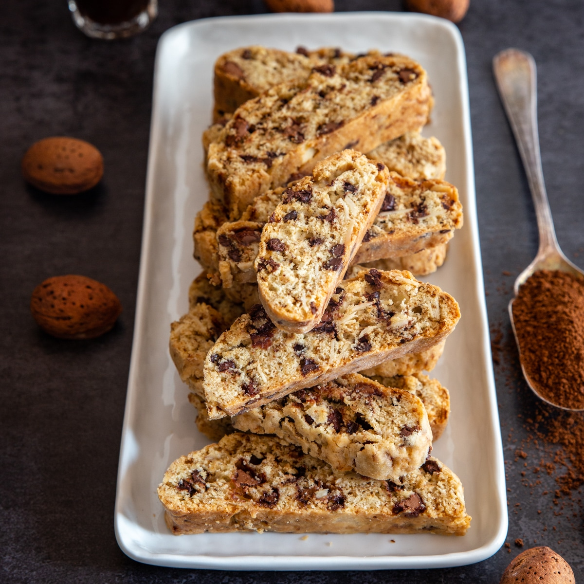 mocha almond cantucci on a white plate