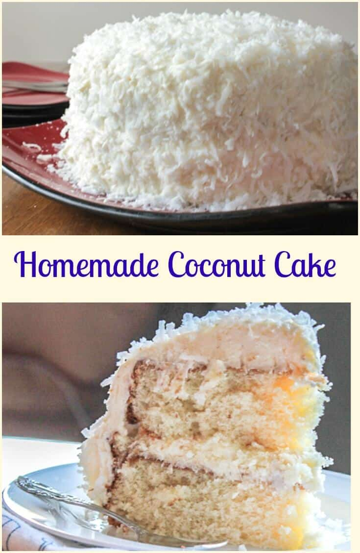 Coconut Cake, a delicious soft, moist cake with a creamy cream cheese frosting. Topped with coconut flakes, a perfect Christmas dessert. #coconutcake #cake #dessert #sweets #cakerecipe #layercake