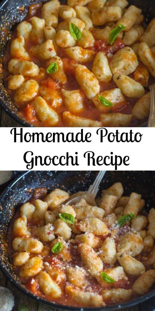 An easy Italian Pasta Dish recipe, Homemade Potato Gnocchi. A simple tomato sauce makes these soft, delicate Gnocchi a delicious Dinner idea. #gnocchi #pasta #potatognocchi #Italianrecipe #maindish